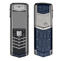 Vertu Signature S Design Stainless Steel Blue Crocodile Leather