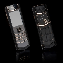 Vertu Signature S Design Pure Black Gold Black Crocodile EXCLUSIVE