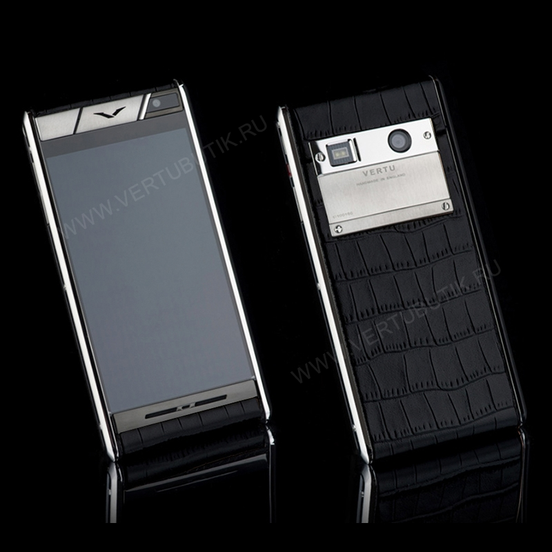 Vertu Aster Stainless Steel Black Crocodile EXCLUSIVE фото