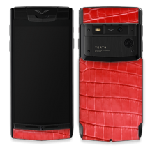 Vertu Signature Touch Pure Black Pvd Red Corocodile Leather EXCLUSIVE
