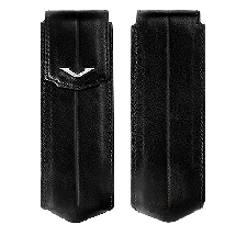 Black Leather Vertical Case With Silver