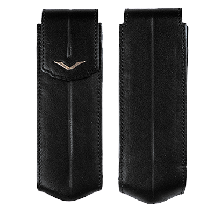 Black Leather Vertical Case With Yellod Gold